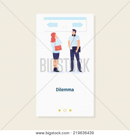 Business dilemma.Business decision concept. Businessman confuse to choose the right directionConcept business vector illustration poster