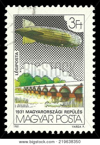 Hungary - circa 1981: Stamp printed by Hungary Color edition on topic of Aeronautics shows Nine Arch Bridge Hortobagy circa 1981