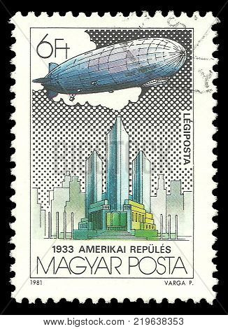Hungary - circa 1981: Stamp printed by Hungary Color edition on topic of Aeronautics shows Federal Palace Chicago World Fair circa 1981