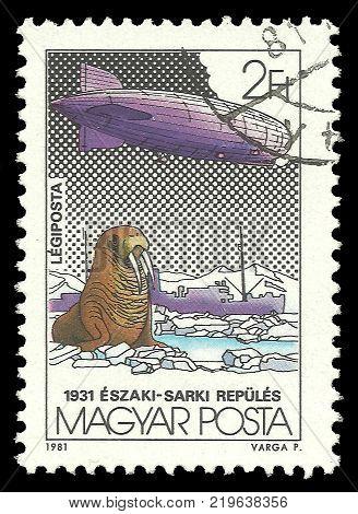 Hungary - circa 1981: Stamp printed by Hungary Color edition on topic of Aeronautics shows Walrus Zeppelin and Icebreaker Malygin circa 1981