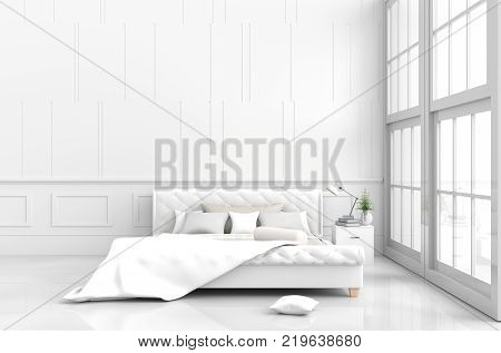 White bedroom decor with tree in glass vase, pillows, white blanket, window, sky, lamp,bookcase,white wall it is pattern,The sun shines through the window into the shadows,White floor. 3d render.