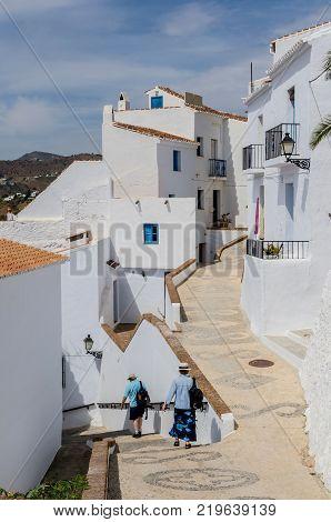 Typical Streets On Frigiliana, Costa Del Sol, Malaga