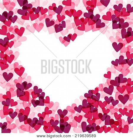 Background with hearts, vector illustration. Heart frame, decoration for valentine s day cards, wedding invitations, party flyers, posters.