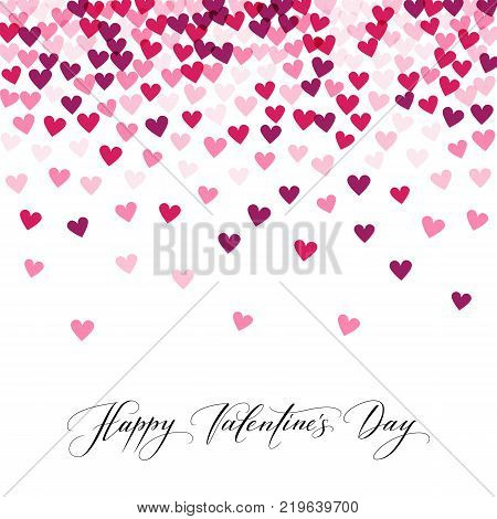Background with hearts and Happy Valentine s day hand written calligraphy. Vector illustration. Great for valentine s day cards, wedding invitations, party flyers, posters.