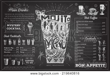 Vintage chalk drawing cocktail menu design. Restaurant menu