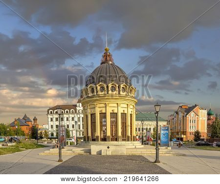 KAZAN, RUSSIA - August 21, 2016: Rotunda on the Petersburg street.