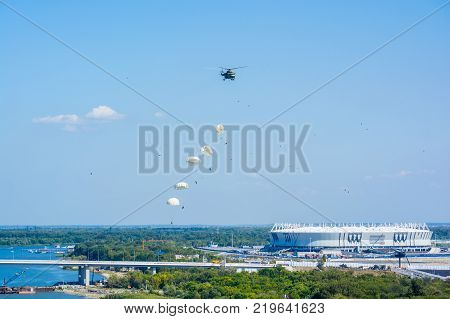 ROSTOV-NA-DONU, RUSSIA - CIRCA SEPTEMBER 2017: Russian paratroopers in sky at military air show