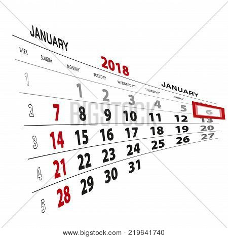 January 6 highlighted on 2018 calendar. Week starts from Sunday. Vector Illustration.