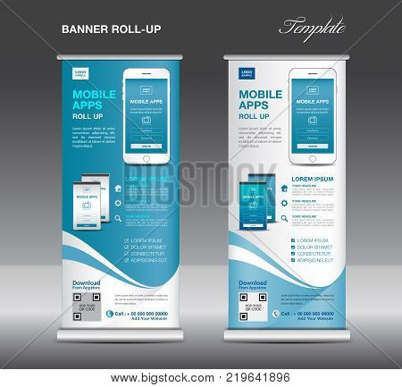 Mobile Apps Roll Up Banner Template, Stand Layout, Blue Banner, Application Presentation, Infographi