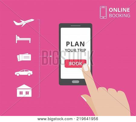 Smartphone with hand touching book button on screen. Online booking design elements. hotel, flight, car, tickets. Plan a trip concept for mobile phone.