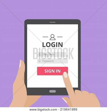 Hand touching the screen of tablet computer with user login form page and sign in button. Member profile log in, mobile application flat design concept.
