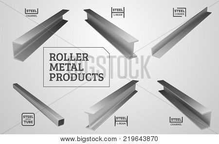 Metal rolling. Steel products. I-beam, steel corner and channel. Realistic vector illustration.