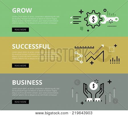 Flat line web banners of growing business. Line gearwheel, wrench, diagram and human hands with money symbol for websites and marketing materials with call to action buttons, ready to use