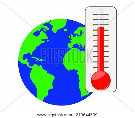 Thermometer against the background of the planet Earth.