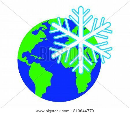 The emblem of the snowflake against the background of the planet Earth.