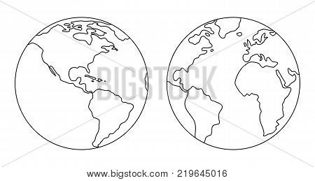 The image of the planet Earth. Vector illustration.