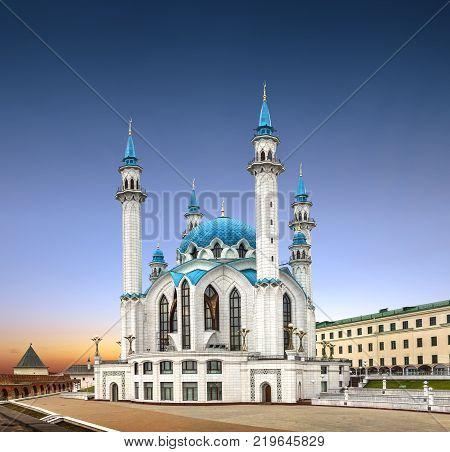 Qolsharif Kul Sharif Mosque in the Kazan Kremlin on sunset background. Tatarstan, Russia.