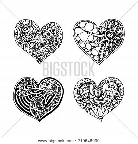 Vector set of four doodle hand drawn hearts. Black and white hearts. Coloring page book for Valentine day. Card for Saint Valentines Day. Symbol of love. heart in zentangle style.