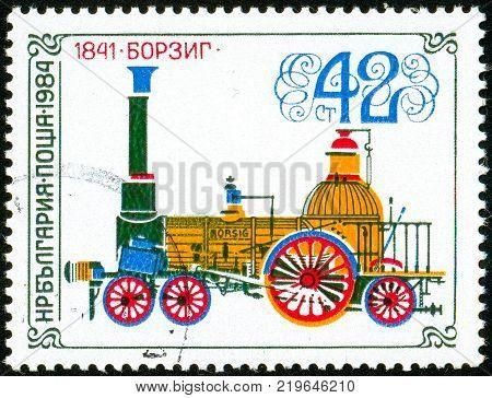 Ukraine - circa 2017: A postage stamp printed in Bulgaria shows drawing Locomotive Borsig 1841. Series: Old steam locomotives. Circa 1984.