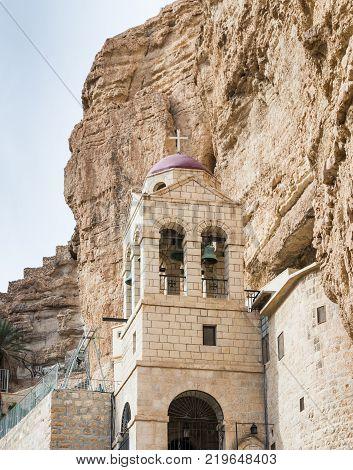 Near Mitzpe Yeriho Israel November 25 2017 : Belfry in the monastery of St. George Hosevit (Mar Jaris) in Wadi Kelt near Mitzpe Yeriho in Israel