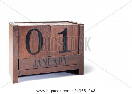 Wooden Perpetual Calendar set to January 1st