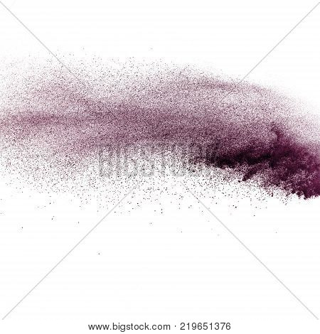 Coco Color Particles Splatter On White Background. Deep Brown Dust Splash On White Background.