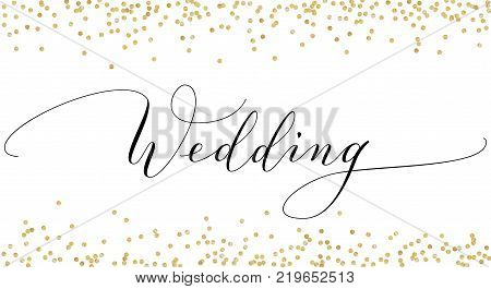 Wedding invitation with hand written custom calligraphy and falling glitter confetti. Elegant ornate lettering with swirls and swashes. Great for wedding cards, banners, photo overlays.
