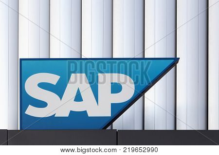 Copenhagen, Denmark - September 10, 2017: SAP logo on a wall. SAP is a European multinational software corporation that makes enterprise software to manage business operations and customer relations