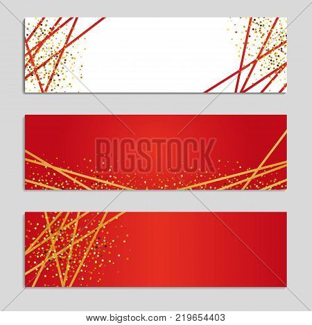 Gold Line red Banners. Golden glitter shine sparkles invitation. Print sparkle, ribbon, birthday party, Business web header, congratulation, surprise, Wedding decorations, web header, text event