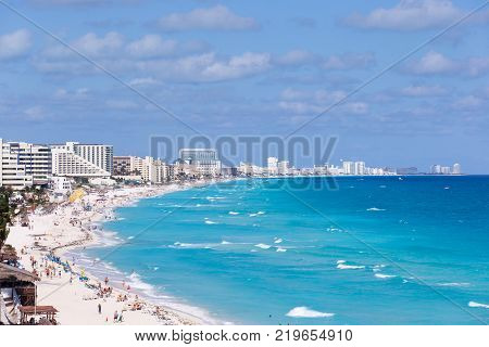 Sandpit with resorts and turquoise caribbean sea. Stunning tourist destination