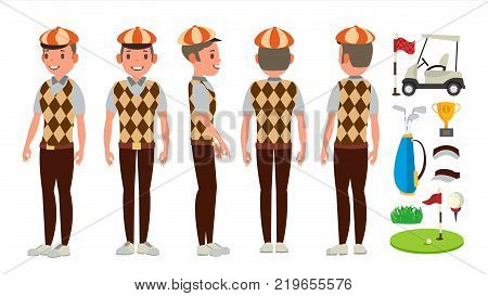 Classic Golf Player Vector. Swing Shot On Course. Diferent Poses. Flat Cartoon Illustration