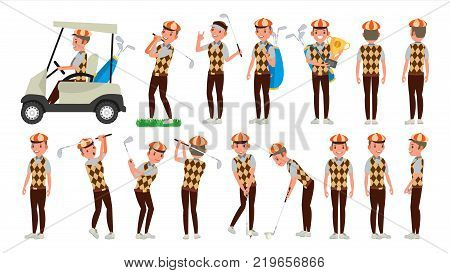 Golf Player Male Vector. Hitting Golf Ball. Playing Man. Different Poses. Cartoon Character Illustration