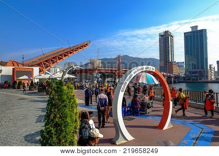 Busan South Korea - 3 november 2017 : Many people watch Yeongdodaegyo Bridge lift everyday in Busan South Korea