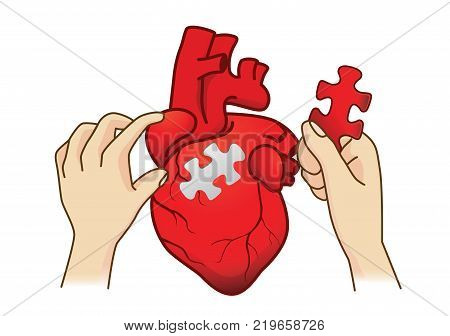 Hand paste the last piece to complete the human heart jigsaw. Conceptual illustration about medical surgery.