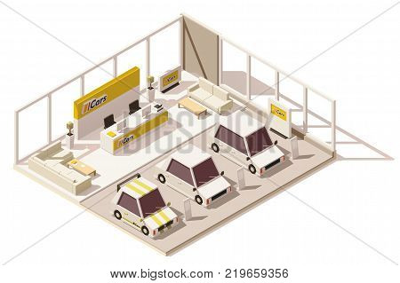 Vector isometric low poly car dealership showroom. Includes cars on the display, customers area and other dealership infrastructure