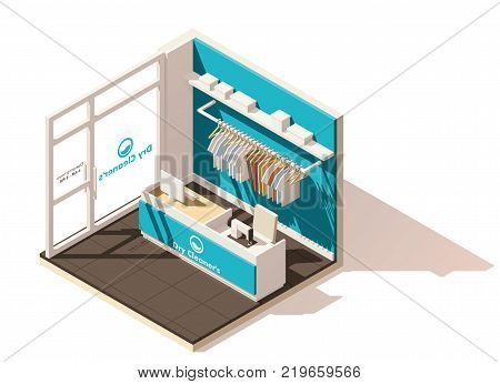 Vector isometric low poly commercial laundry cutaway icon. Includes drycleaners interior, help desk and stand with clean laundry