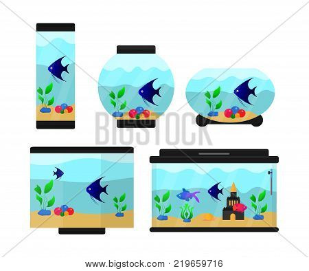 A set of six aquariums of different shapes. Aquariums with fish, pebbles and plants. Illustrations for children's books and encyclopedias. Flat vector illustration.