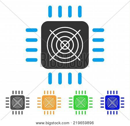 Asic Processor icon. Vector illustration style is a flat iconic asic processor symbol with gray, green, blue, yellow color versions. Designed for web and software interfaces.