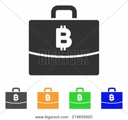 Bitcoin Accounting Case icon. Vector illustration style is a flat iconic bitcoin accounting case symbol with gray, green, blue, yellow color variants. Designed for web and software interfaces.