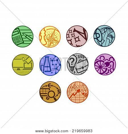 Set of ten simple vector round icons for news site or business theme. Multicolored flat buttons on the subject of economics strategy investments politics information technology science entrepreneurship industry trade securities (finance)