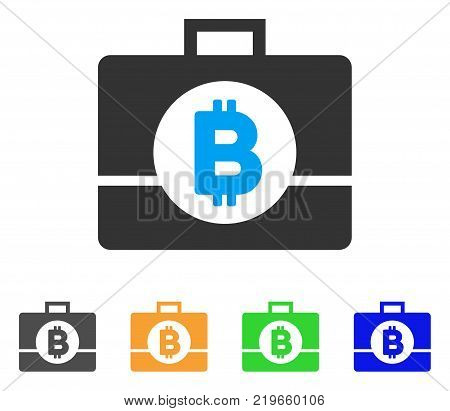 Bitcoin Business Case icon. Vector illustration style is a flat iconic bitcoin business case symbol with grey, green, blue, yellow color variants. Designed for web and software interfaces.