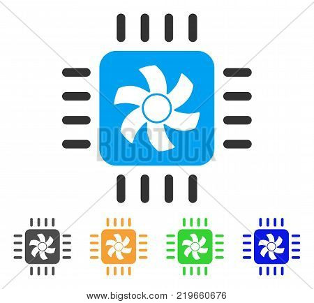 Cpu Cooler icon. Vector illustration style is a flat iconic cpu cooler symbol with grey, green, blue, yellow color versions. Designed for web and software interfaces.