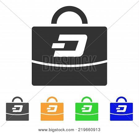 Dash Accounting Case icon. Vector illustration style is a flat iconic dash accounting case symbol with gray, green, blue, yellow color versions. Designed for web and software interfaces.