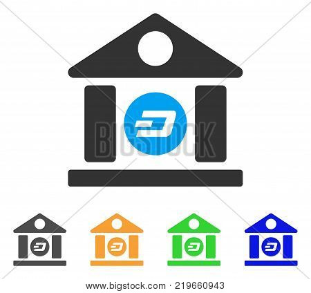 Dash Bank Building icon. Vector illustration style is a flat iconic dash bank building symbol with grey, green, blue, yellow color versions. Designed for web and software interfaces.