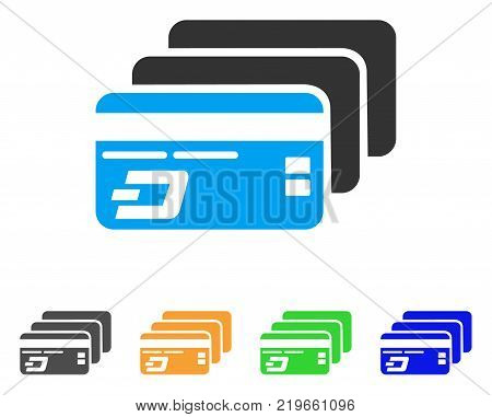 Dash Bank Cards icon. Vector illustration style is a flat iconic dash bank cards symbol with gray, green, blue, yellow color variants. Designed for web and software interfaces.