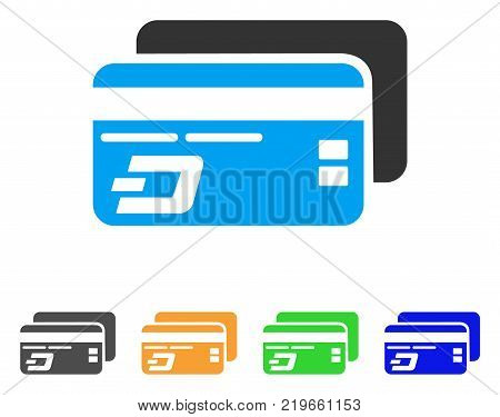 Dash Bank Cards icon. Vector illustration style is a flat iconic dash bank cards symbol with grey, green, blue, yellow color versions. Designed for web and software interfaces.