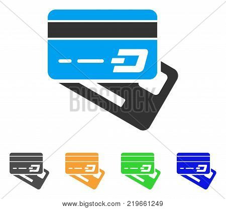 Dash Banking Cards icon. Vector illustration style is a flat iconic dash banking cards symbol with grey, green, blue, yellow color variants. Designed for web and software interfaces.