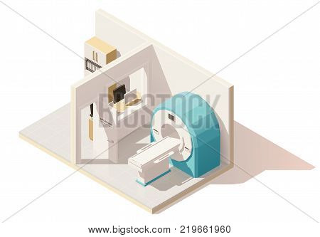 Vector isometric low poly MRI room cutaway icon. Includes MRI scanner and doctors observation room