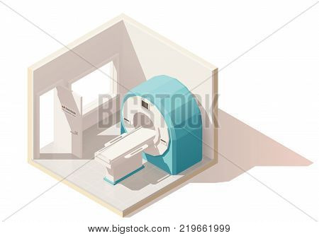 Vector isometric low poly MRI room cutaway icon. Includes MRI scanner and doctors observation room window