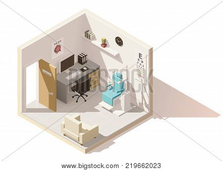 Vector isometric low poly ophthalmologist office cutaway icon. Includes phoropter, eye chart, doctor s working desk and other furniture